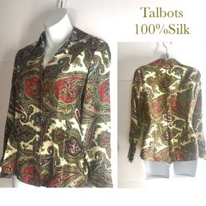 Vintage Talbots 100% Silk Button Down Shirt